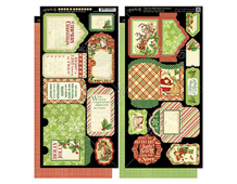 4500998 Set 2 hojas de papel doble cara conetiquetas pre-cortadas TWAS THE NIGHT BEFORE CHRISTMAS Graphic45