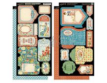 4501078 Set 2 hojas de papel doble cara con etiquetas pre-cortadas HOME SWEET HOME Graphic45