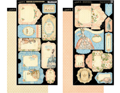 4501137 Set 2 hojas de papel doble cara con etiquetes pre-cortadas GILDED LILY Graphic45