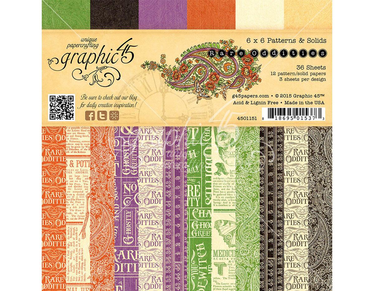 4501151 Set 36 papeles surtidos estampados base RARE ODDITIES Graphic45