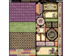 4501156 Pegatinas alfabeto y formas RARE ODDITIES en hoja Graphic45