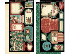 4501196 Set 2 hojas de papel doble cara con etiquetas pre-cortadas CHRISTMAS CAROL Graphic45