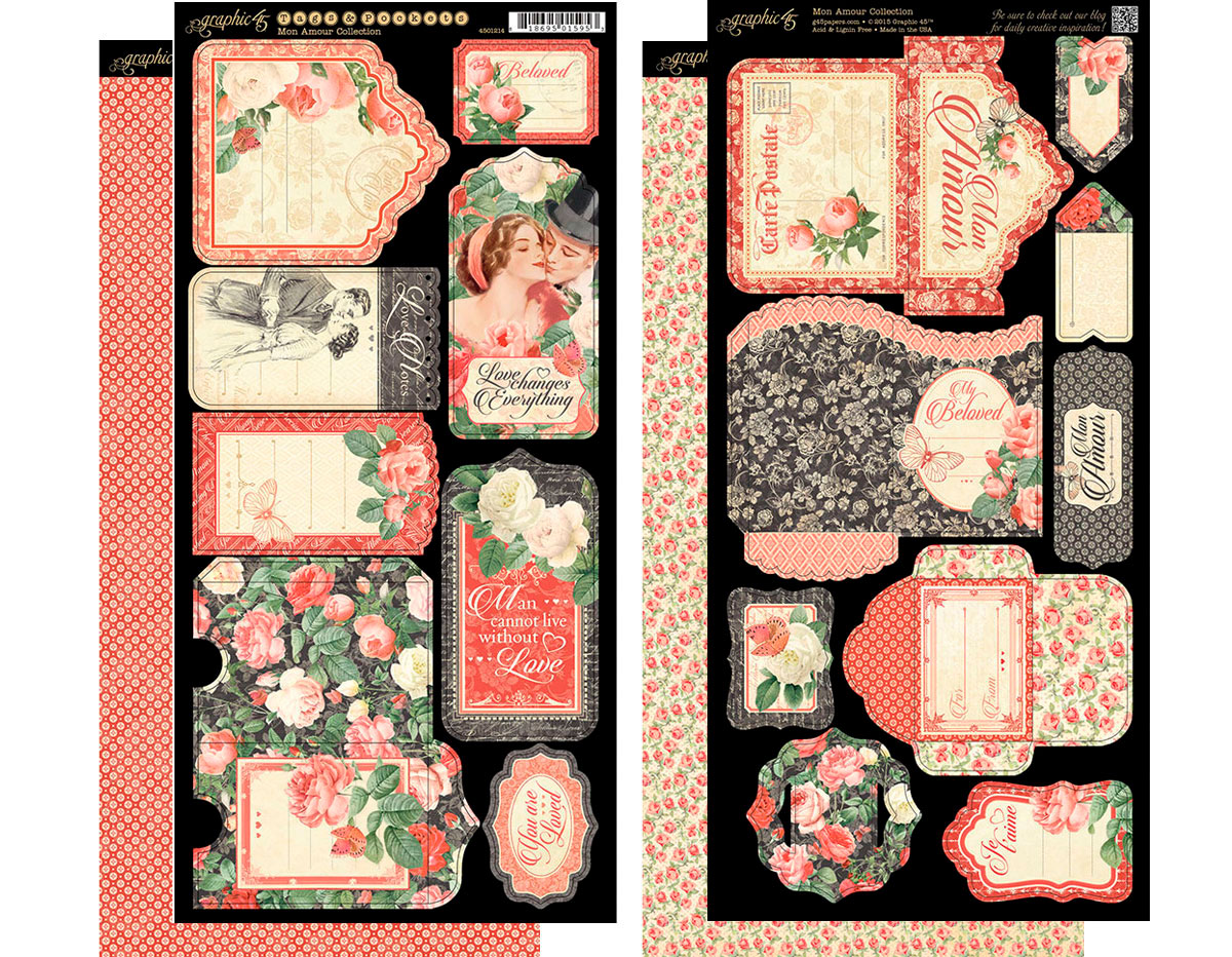 4501214 Set 2 hojas de papel doble cara con etiquetas pre-cortadas MON AMOUR Graphic45