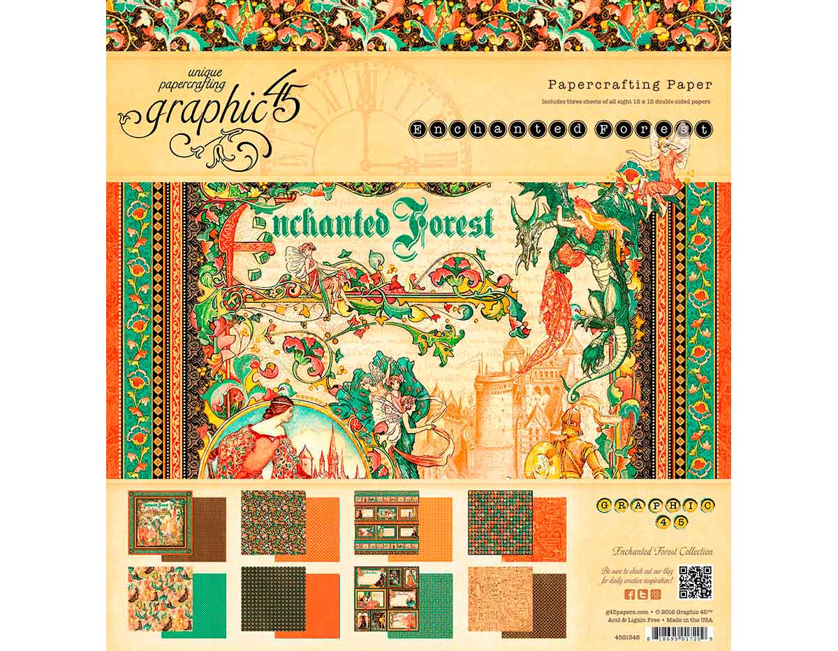 4501347 Set 24 papeles surtidos ENCHANTED FOREST Graphic45