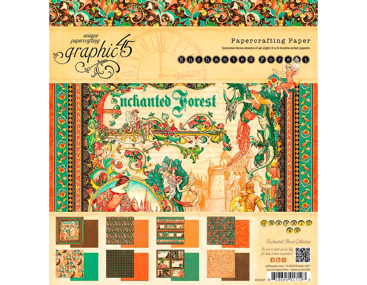 4501348 Set 24 papeles surtidos ENCHANTED FOREST Graphic45