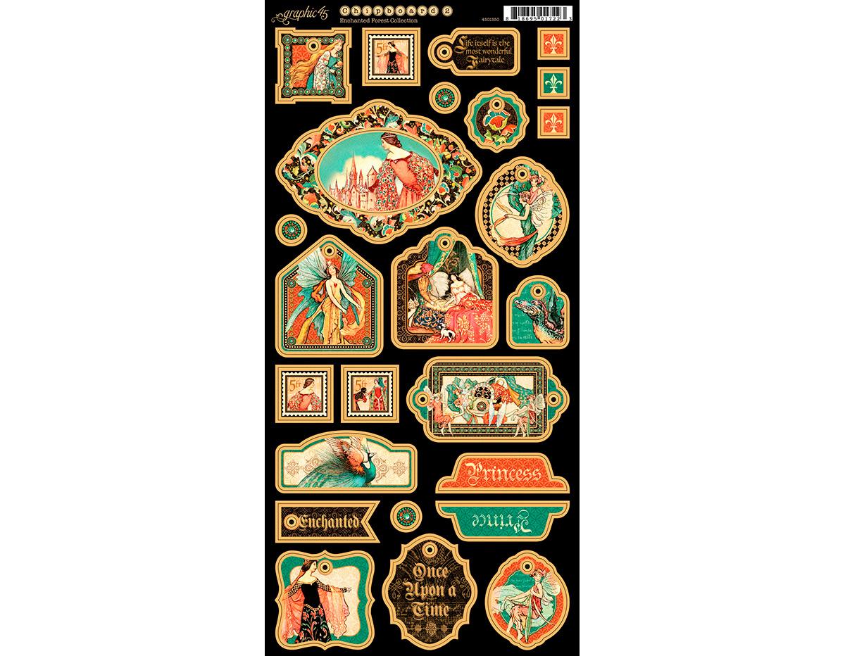 4501350 Carton con formas decorativas pre-cortadas ENCHANTED FOREST Graphic45