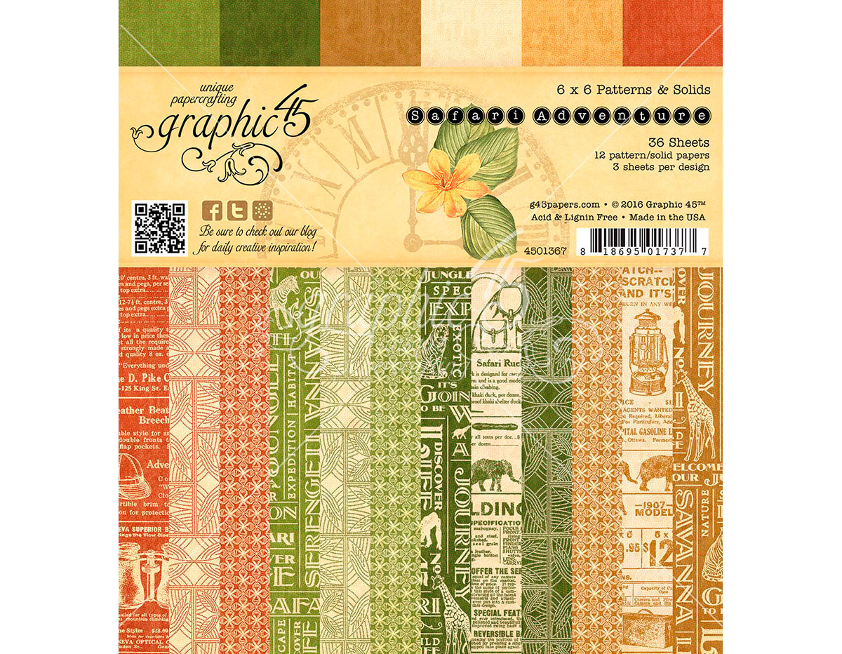 4501367 Set 36 papeles surtidos estampados base SAFARI ADVENTURE Graphic45