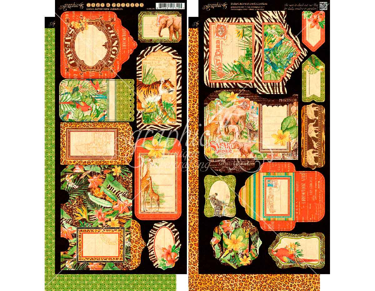 4501370 Set 2 hojas de papel doble cara con etiquetes pre-cortadas SAFARI ADVENTURE Graphic45
