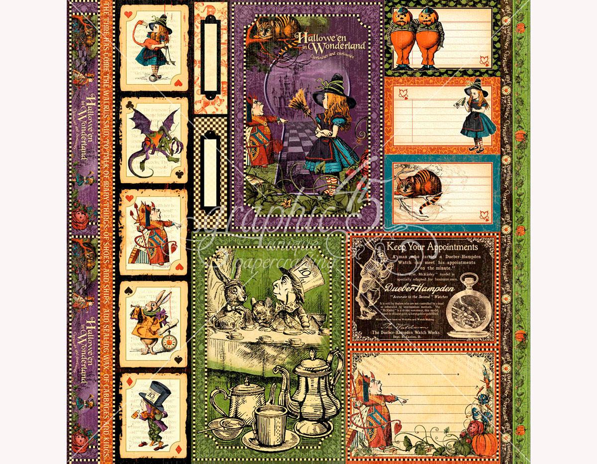 4501388 Papel dobel cara HALLOWE EN IN WONDERLAND Tweedledee and Tweedledum Graphic45