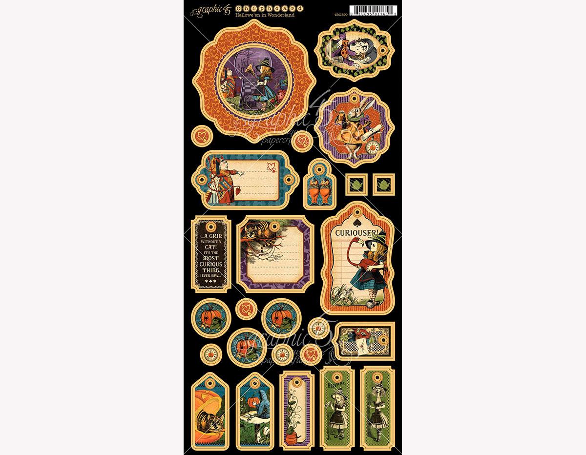 4501390 Carton con formas decorativas pre-cortadas HALLOWE EN IN WONDERLAND Graphic45