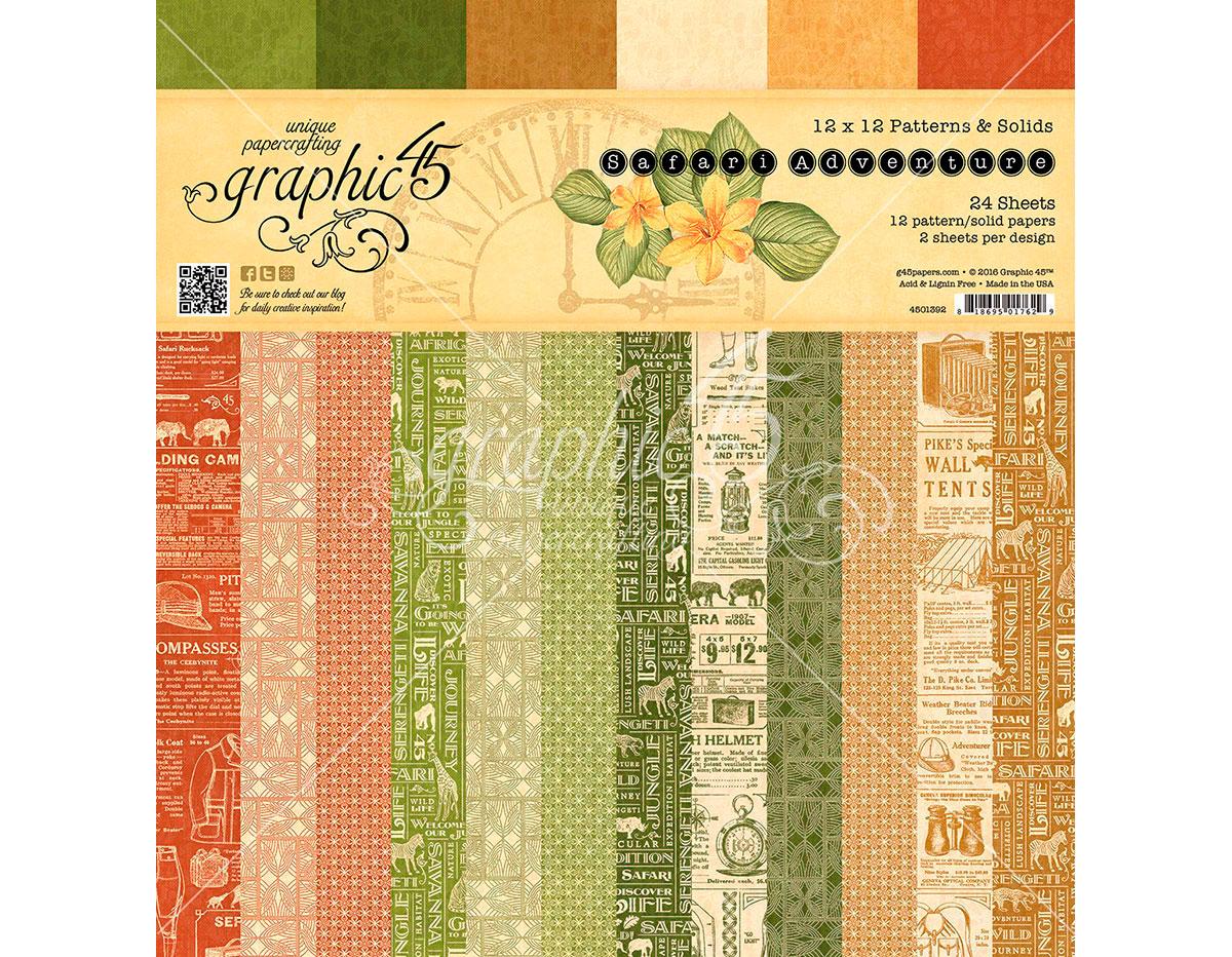 4501392 Set 24 papeles surtidos estampados base SAFARI ADVENTURE Graphic45