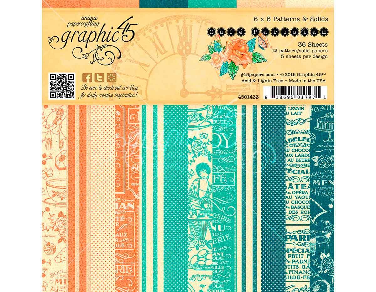 4501433 Set 36 papeles surtidos estampados base CAFE PARISIAN Graphic45