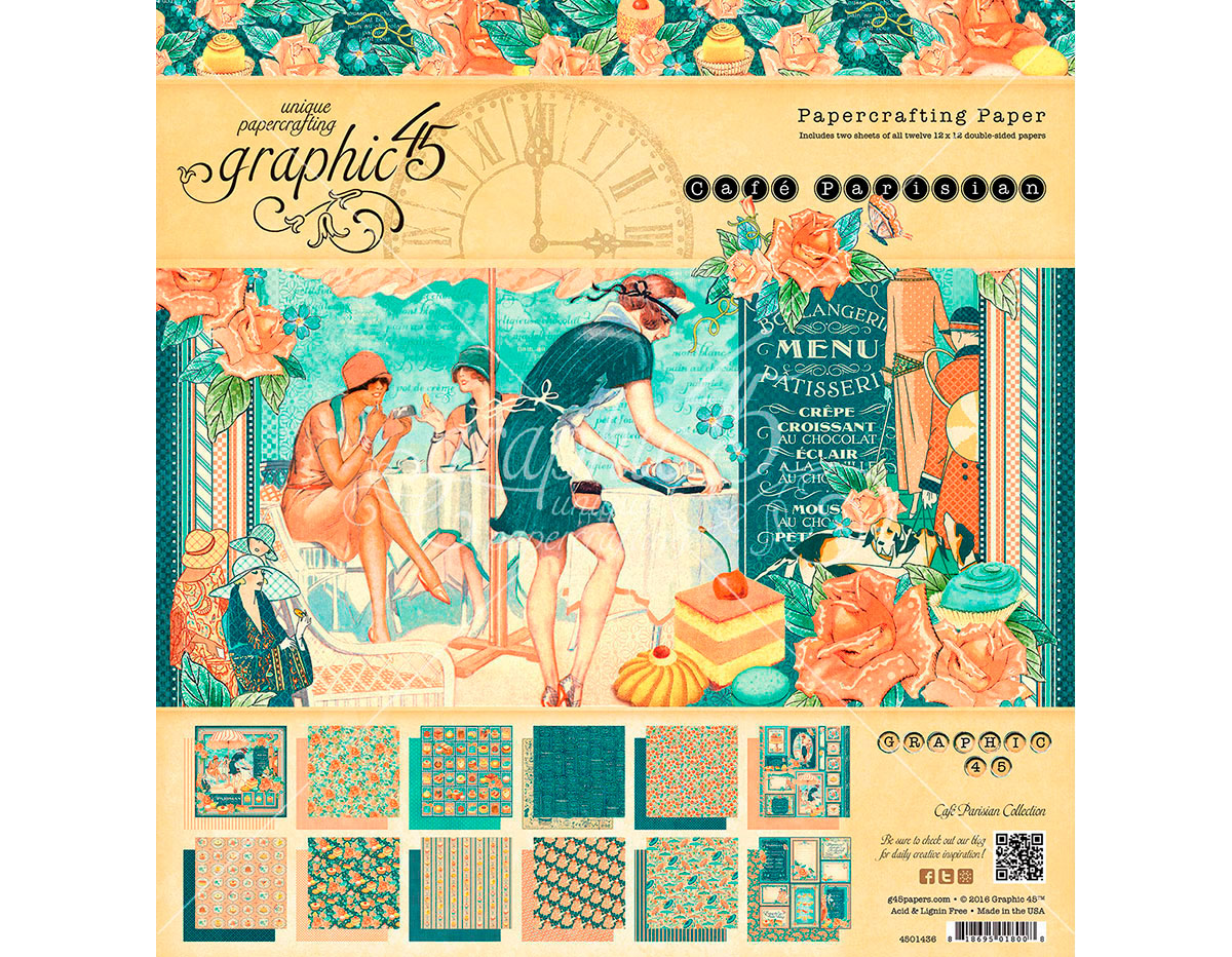 4501436 Set 24 papeles surtidos CAFE PARISIAN Graphic45