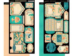 4501437 Set 2 hojas de papel doble cara con etiquetes pre-cortadas CAFE PARISIAN Graphic45