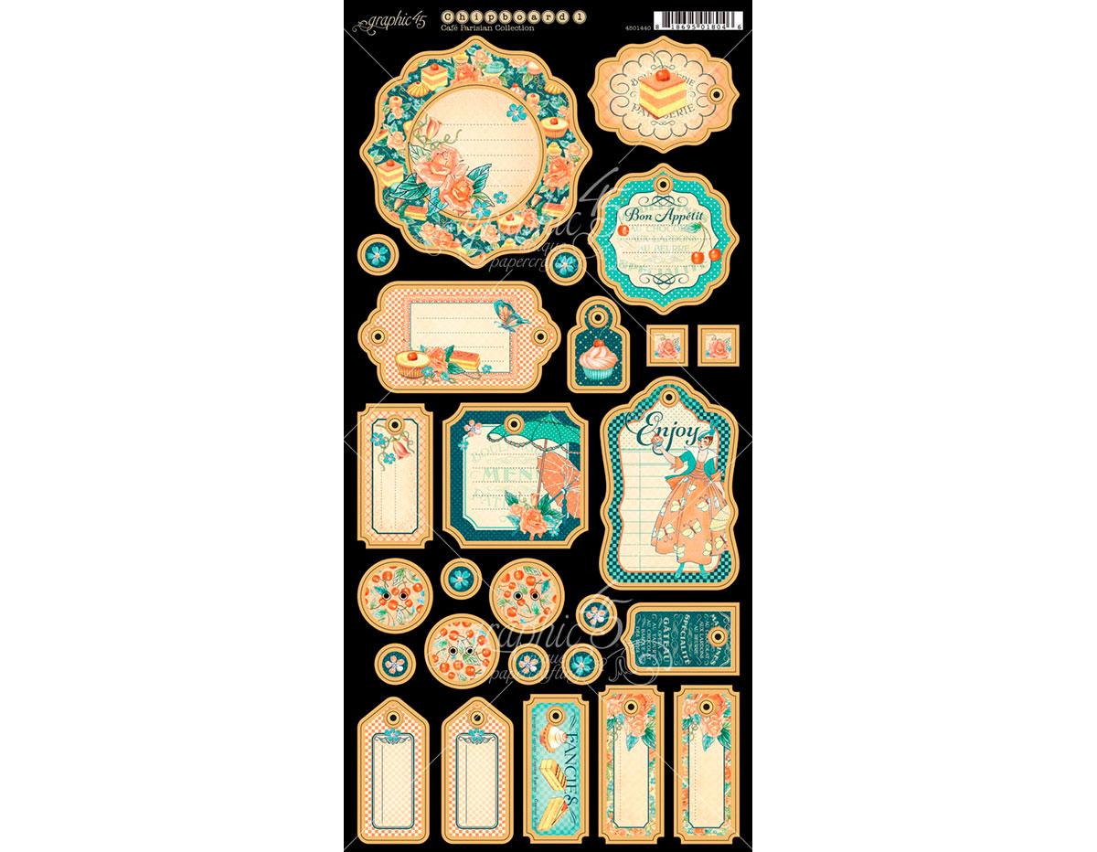 4501440 Carton con formas etiquetas diario pre-cortadas CAFE PARISIAN Graphic45