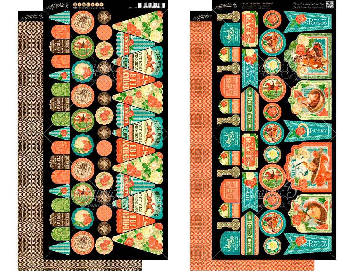 4501463 Set 2 hojas de papel doble cara con banderas pre-cortadas OFF TO THE RACES Graphic45