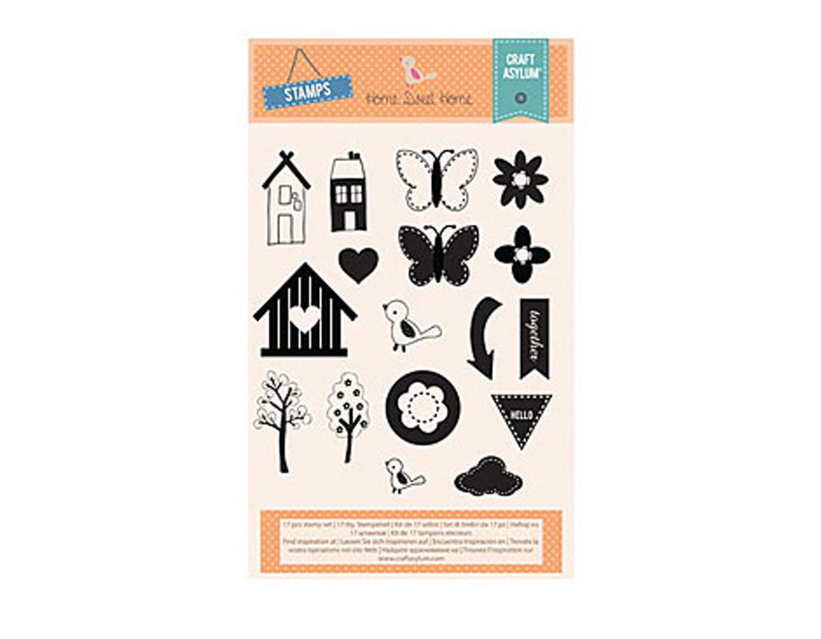 480050 Set 17 sellos acrilicos transparentes HOME SWEET HOME Creative Rox