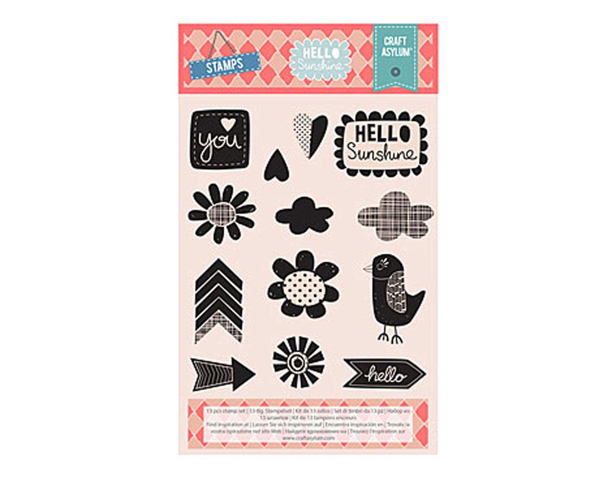 480203 Set 13 sellos acrilicos transparentes HELLO SUNSHINE Creative Rox