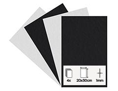 55160 Set 4 laminas fieltro acrilico blanco y negro 20x30cm 1mm Felthu