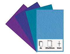 55162 Set 4 laminas fieltro acrilico frios 20x30cm 1mm Felthu