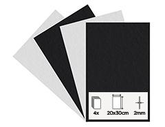 55260 Set 4 laminas fieltro acrilico blanco y negro 20x30cm 2mm Felthu