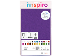 55412 Fieltro acrilico lila fuerte adhesivo 20x30cm 2mm 2u Innspiro