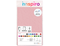 55416 Fieltro acrilico rosa claro adhesivo 20x30cm 2mm 2u Innspiro