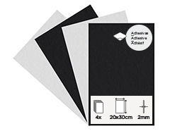 55460 Set 4 laminas fieltro acrilico blanco y negro adhesivas 20x30cm 2mm Felthu