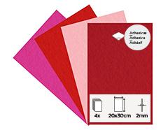 55461 Set 4 laminas fieltro acrilico calidos adhesivas 20x30cm 2mm Felthu