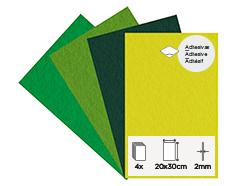 55464 Set 4 laminas fieltro acrilico primavera adhesivas 20x30cm 2mm Felthu