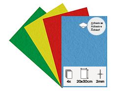 55465 Set 4 laminas fieltro acrilico basicos adhesivas 20x30cm 2mm Felthu