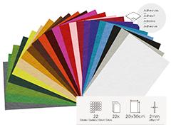 55499 Set 22 laminas fieltro acrilico surtido colores adhesivas 20x30cm 2mm Felthu