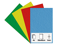 56165 Set 4 laminas fieltro acrilico basicos 30x45cm 1mm Felthu