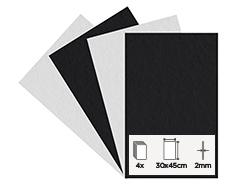 56260 Set 4 laminas fieltro acrilico blanco y negro 30x45cm 2mm Felthu