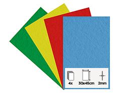 56265 Set 4 laminas fieltro acrilico basicos 30x45cm 2mm Felthu