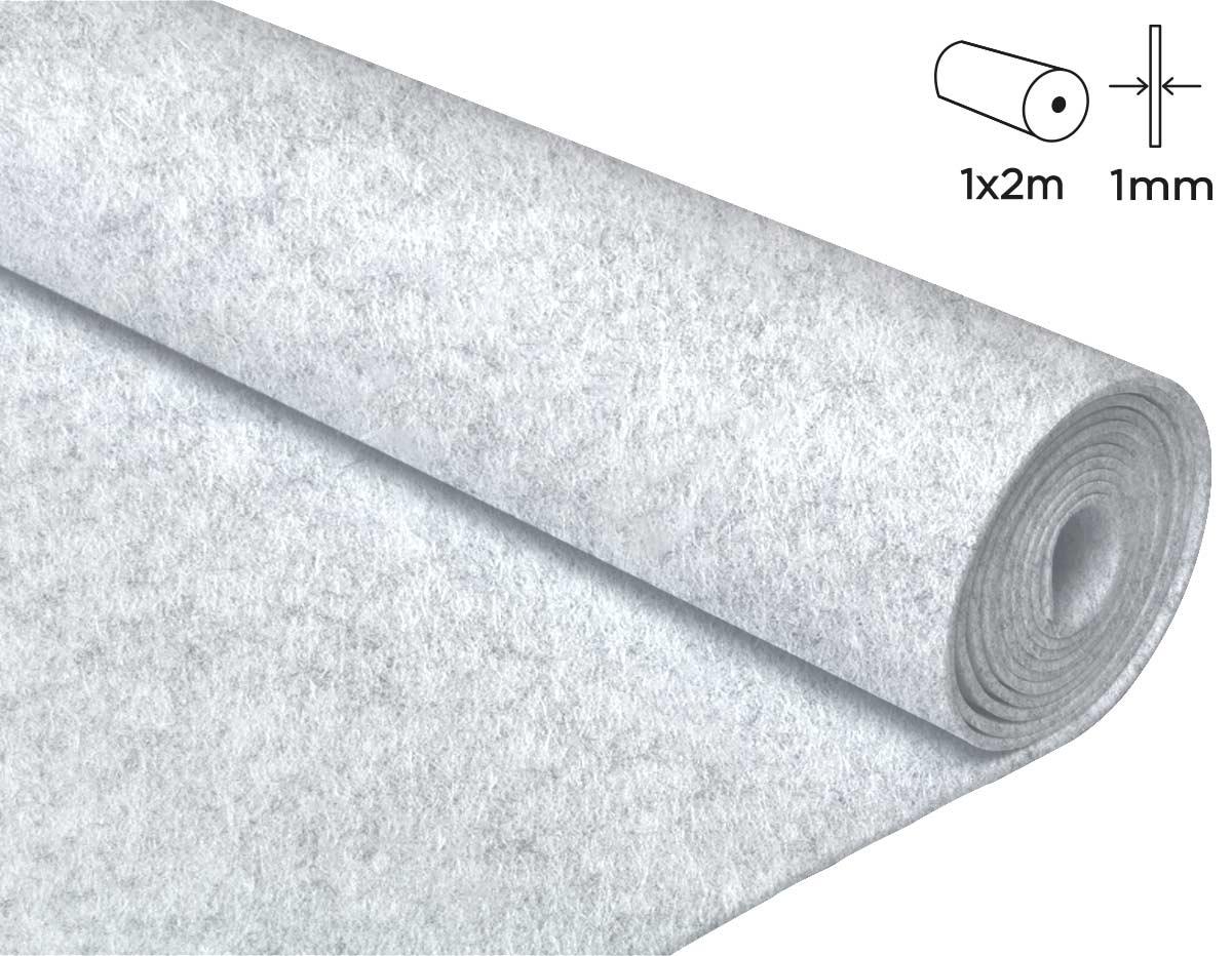 57100 Fieltro acrilico blanco 100x200cm 1mm 1u Felthu
