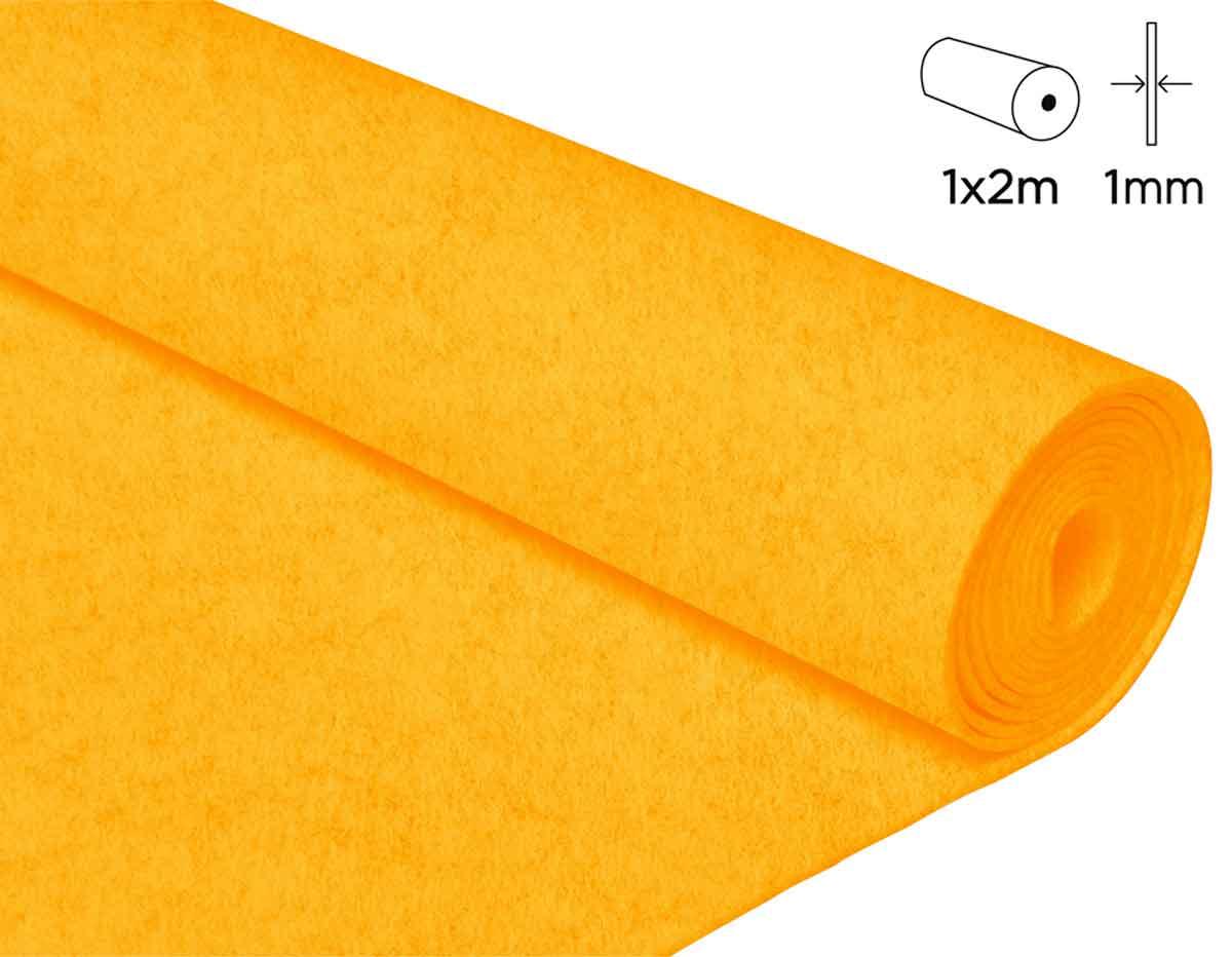 57134 Fieltro acrilico amarillo 100x200cm 1mm 1u Felthu