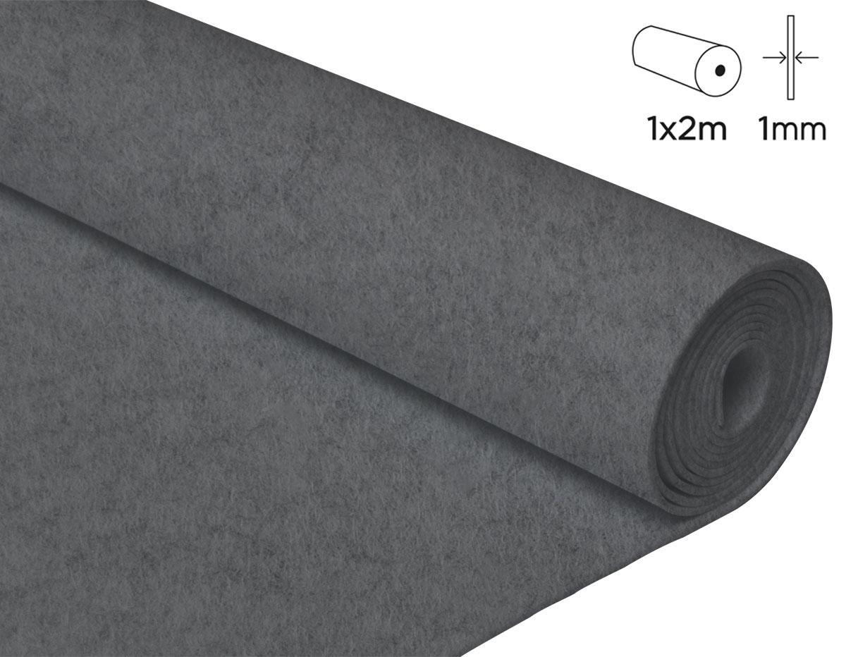 57151 Fieltro acrilico gris 100x200cm 1mm 1u Felthu