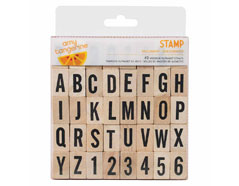 59173AC Set 40 sellos madera alfabeto y numeros Amy Tangerine Wood Stamp Yes Please American Crafts