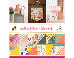 614399 Set 36 papeles doble cara Stack Butterflies and Flowers DCWV