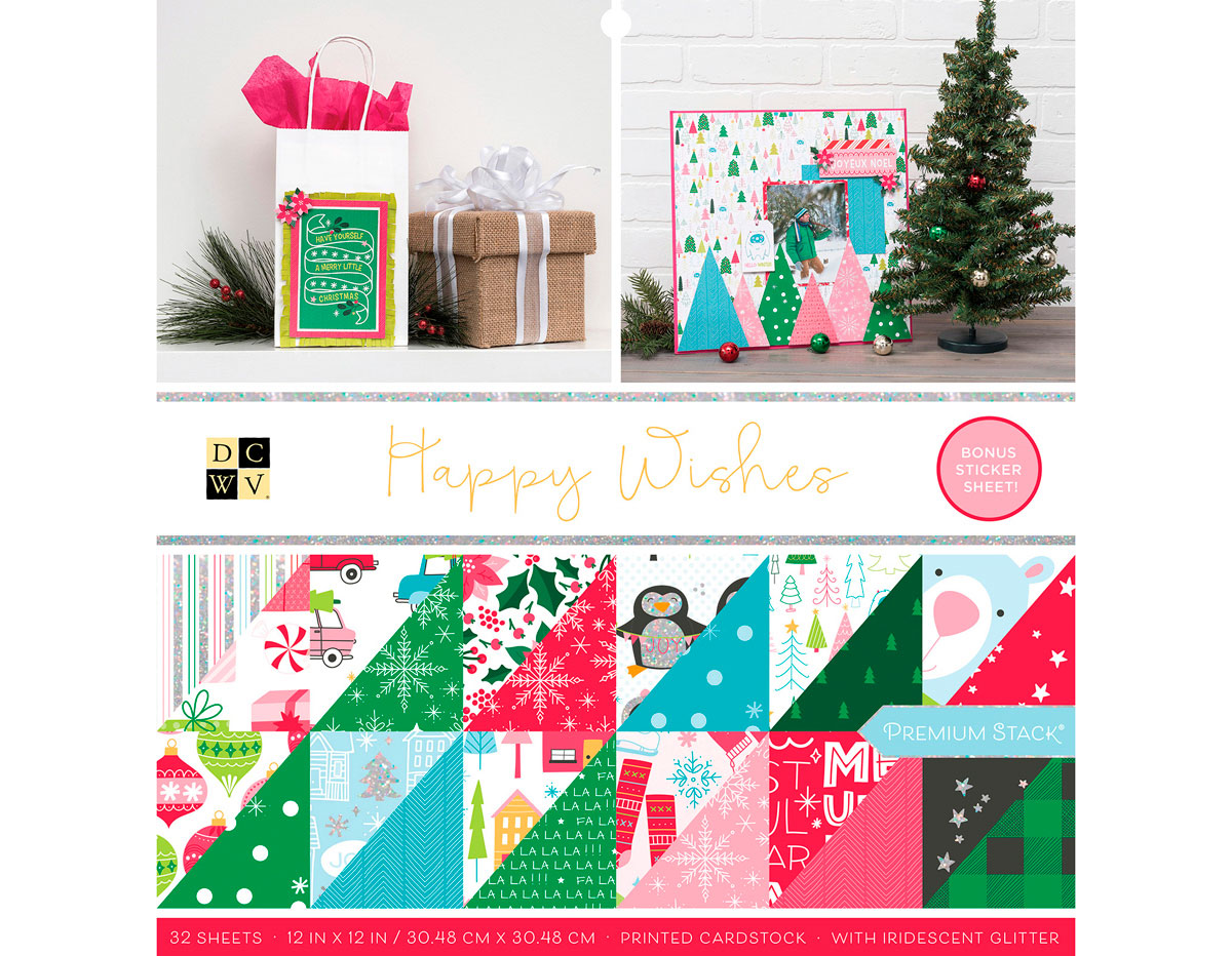 614655 Set 32 papeles foil doble cara Stack Happy Wishes DCWV