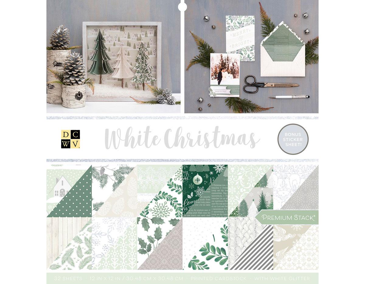 614656 Set 32 papeles glitter doble cara Stack White Christmas DCWV