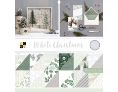 614656 Set 32 papeles glitter doble cara Stack White Christmas DCWV