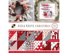 614659 Set 32 papeles foil doble cara Stack Red and White Christmas DCWV