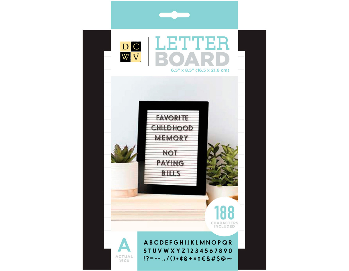 614859 Tablero con 188 letras Letter Board Black and Withe 16 5x21 6cm DCWV