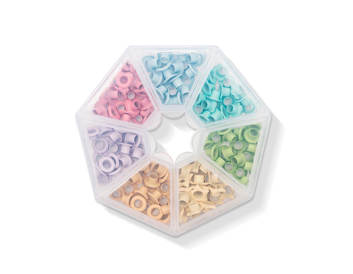 660383 Set de ojales de aluminio 7 colores pastel WR Crop A Dile We R Memory Keepers