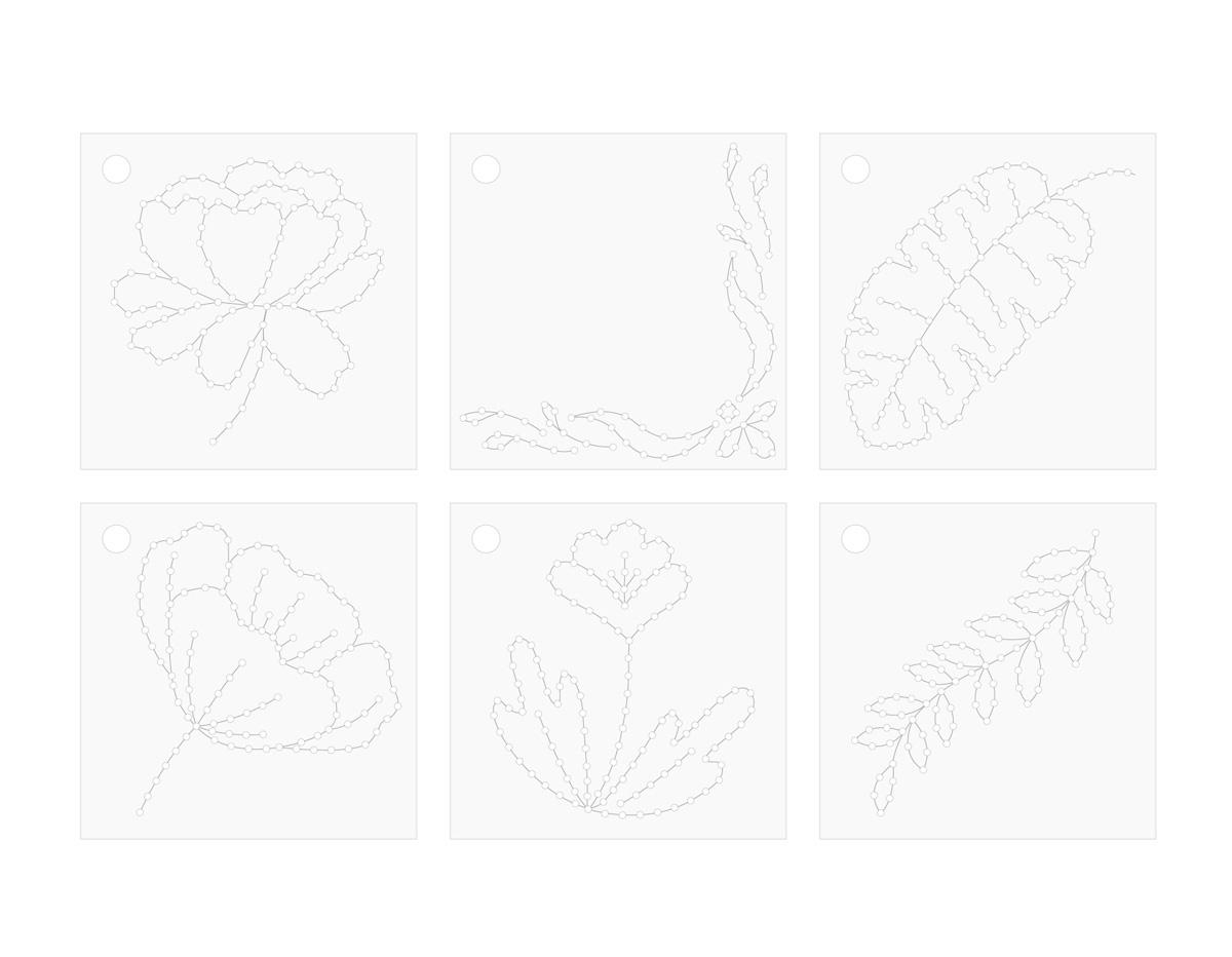 660511 Plantillas florales para realizar cosido con Stitch Happy Pen We R Memory Keepers