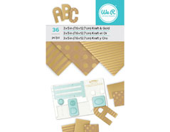 660891 Set 36 hojas de foil Kraft and Gold Foil Pad para Alphabet Punch Board We R Memory Keepers