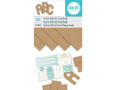 660896 Set 50 hojas de papel craft Kraft Pad para Alphabet Punch Board We R Memory Keepers