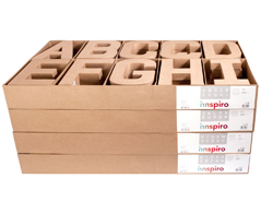 70255 Set 120 letras numeros y simbolos papel mache con volumen Innspiro